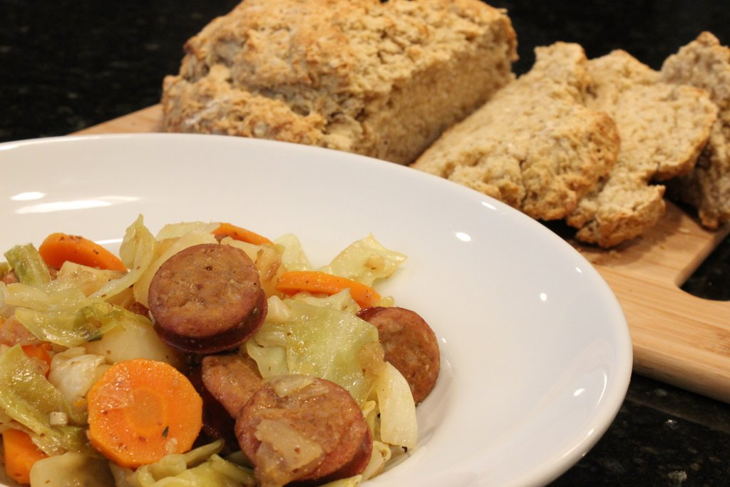 Beer Keilbasa with Cabbage